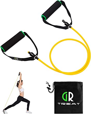 (Yellow - 5LB) - GUARD & REVIVAL TREAT Resistance Exercise Tube, Resistance Band with Handles,Exercise Cords for Resistance Training, Physical Therapy, Home Workouts, Boxing Training,Sold Individual