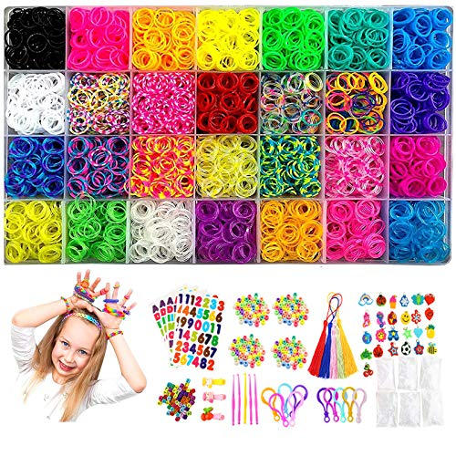 11900+ Rubber Bands Loom Band Kit for Kids, Colorful Rubberband Bracelets Kit, 11000 Loom Bands, 600 S-Clips, 252 Beads, 25 Charms, 10 Backpack Hooks, 5 Crochet Hooks, 2 Y Looms