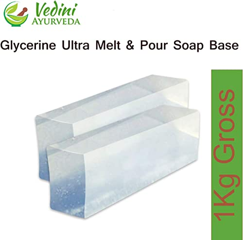 Vedini Gylcerine Ultra Melt and Pour Soap Base - SLS, Sles, Paraben and Alcohol Free, Transparent Natural for Soap Ma...