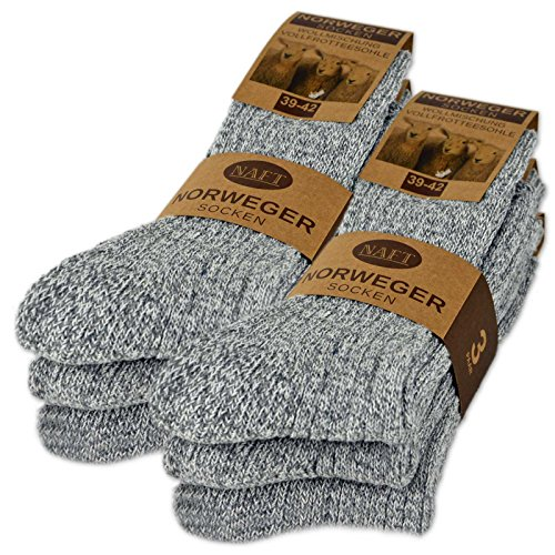 6 Paar Norweger Socken mit Wolle Damen & Herren Schwarz Grau Anthrazit Wintersocken - AD220 (43-46, 6 Paar | Grau)