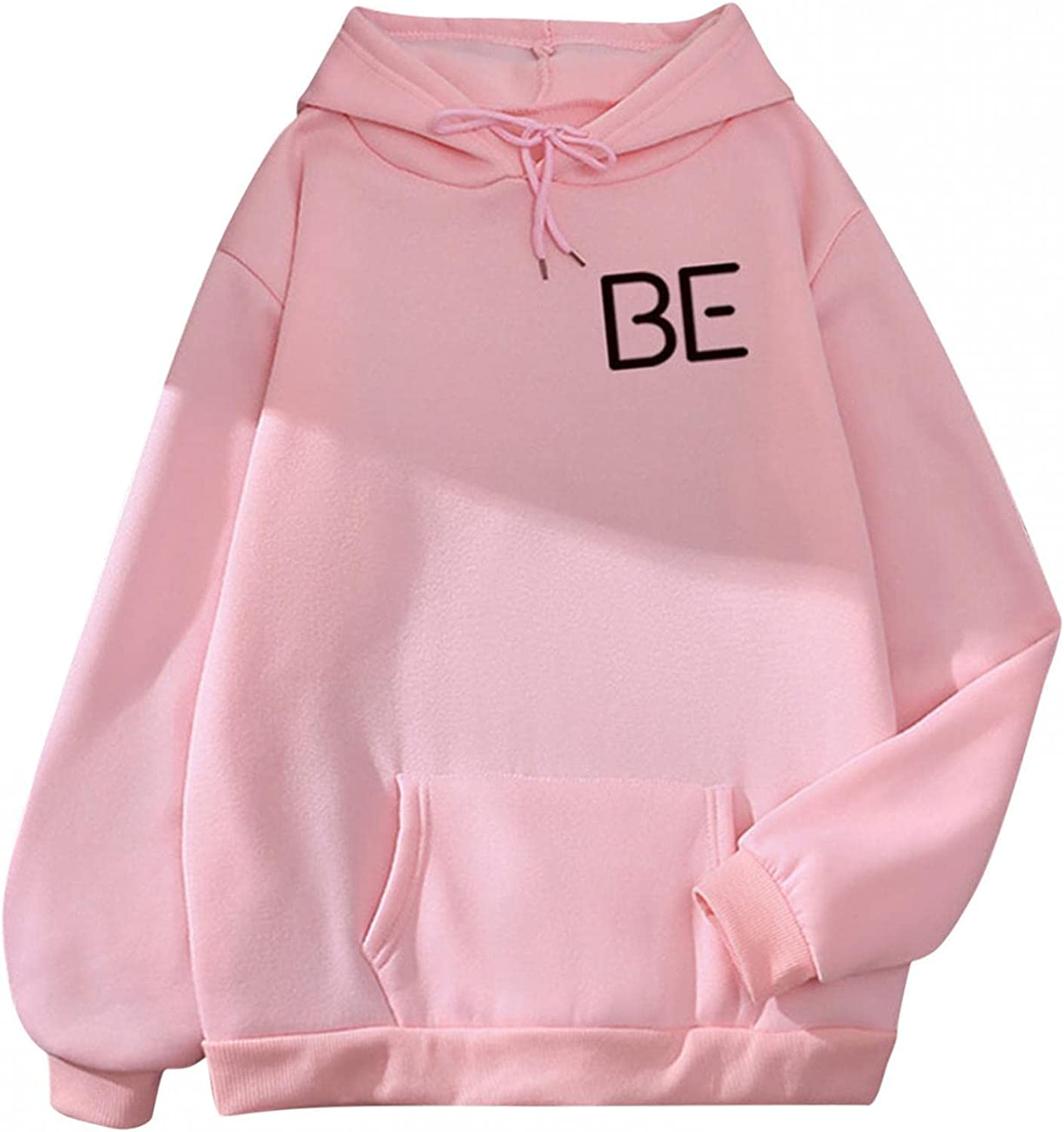 lucyouth Hoodies for Women Teens Girls Long Sleeve Casual Letter Print Pocket Cute Soft Pullover Sweatshirt Tops