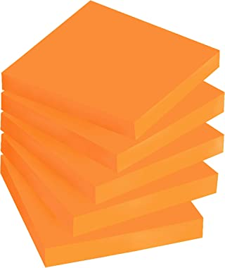 Post-it Super Sticky Notes, 3x3 in, 5 Pads, 2x the Sticking Power, Neon Orange, Recyclable (654-5SSNO)