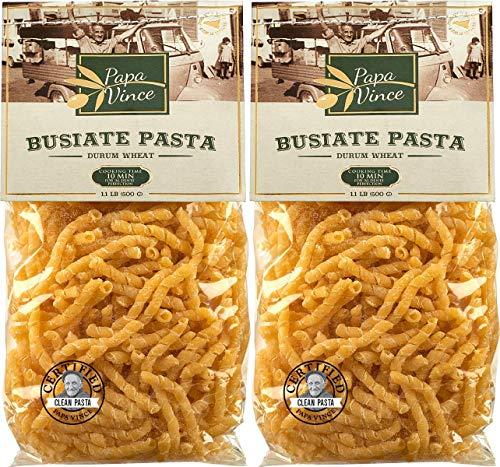 2-er Pack - Papa Vince aus Sizilien - Hausgemachte Busiate Pasta aus Antiker Sizilianischer Durum Vollkorn Semolina Grieß - Hartweizen - Natürlich Gluten Arm, Ungebleicht