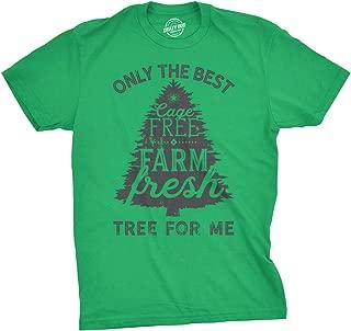 Mens Cage Free Farm Fresh Tree Tshirt Funny Outdoors Christmas Tee for Guys