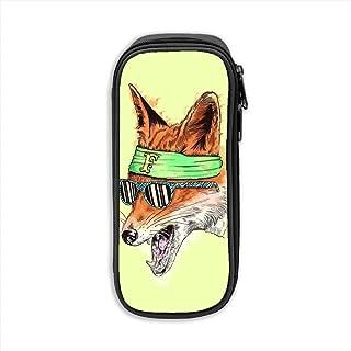WJHONi Desktop-Fox-Cartoon Multifunctional Canvas Pen Bag Pencil Case Makeup Tool Bag Storage Pouch Purse