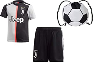 RMCF Cristiano Ronaldo Juventus #7 Home Youth Soccer Cr7 Jersey Short Sleeve Shorts Kids Gift Set
