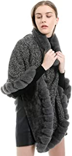 Women's Winter Autumn Wool Blended Bridal Faux Fur Shawl Wraps Cloak Trench Coat Poncho Cape Jacket Outwear Turtleneck Knitted Soft Tassel Poncho Pullover Sweater (Color : Grey)