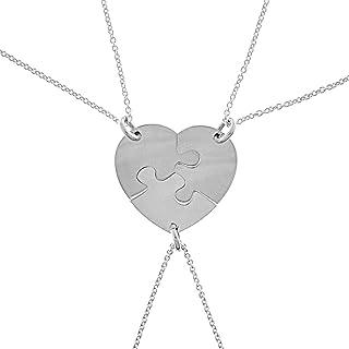 cb6a3982c2 Envío GRATIS disponible. Colgante Corazón Puzzle de Plata, Corazón en 3  Piezas con Cadena de Plata, Colgante