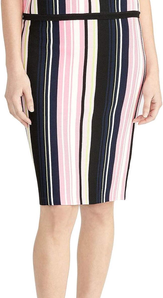 RACHEL Rachel Roy Women's Olivia Striped Sweater Skirt, Medium, Dark Pink
