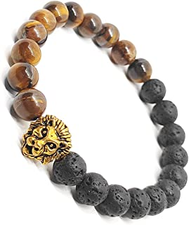 The Bling Store Tiger Eye 8mm Bead Bracelet, Natural Lava Rock Stone and Gold Plated Tiger Charm with Essential Oil Anxiet...