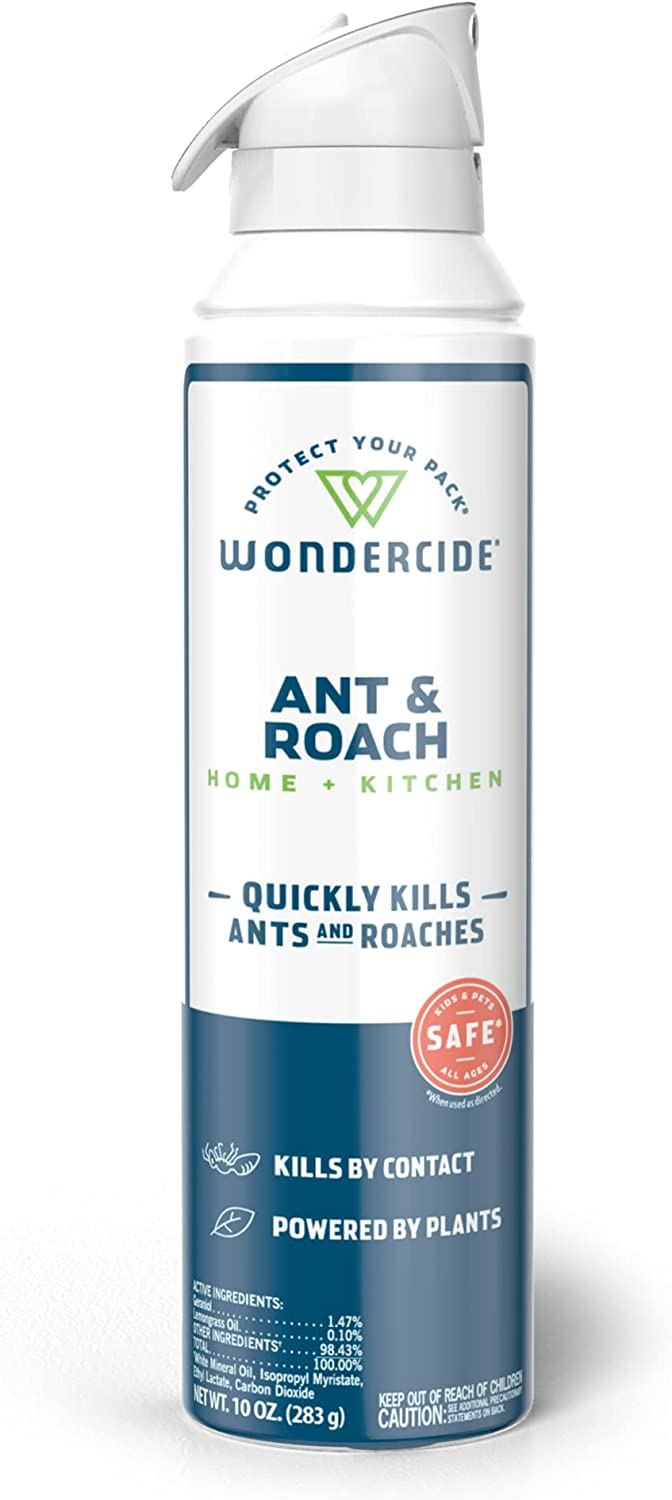 Wondercide - Ant and Roach Aerosol Spray for Kitchen, Home, and Indoor Areas - Ant, Roach, Spider, Flea, Bug Killer and Insect Repellent with Natural Essential Oils - Pet and Family Safe - 10 oz