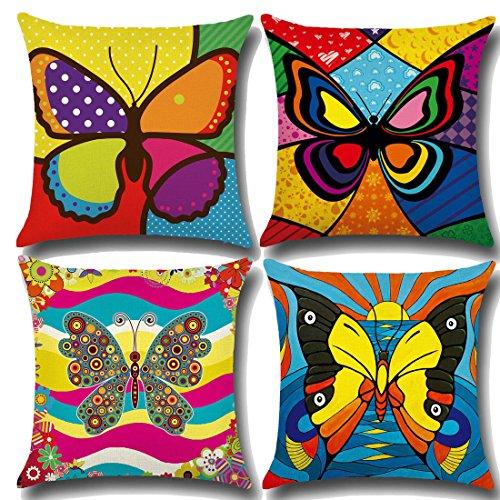 Calcifer 45,7 x 45,7 cm (45 x 45 cm) coloré Papillon Designs durable Coton Lin Coussin Oreiller Sheel Coque Housses de coussin pour Home Canapé décoratifs (lot de 4) # 54