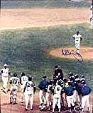 Al Downing Autographed/Original Signed 8x10 Color Historic Photo After Hank Aaron's Tie-breaking 715th Homerun April 8, 1974