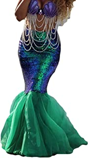 Womens Sequins Mermaid Costume Skirt Halloween Party Cosplay Shiny Tail Maxi Skirts Clothes with Mesh Panel