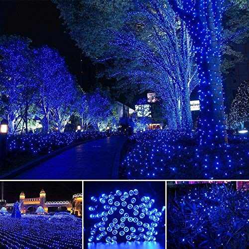 SDJ Kerstverlichting op zonne-energie, 100 leds, waterdicht, voor buiten, kerstboom, tuin, bruiloft, terras, feest, kerstdecoratie 100 Led-blu