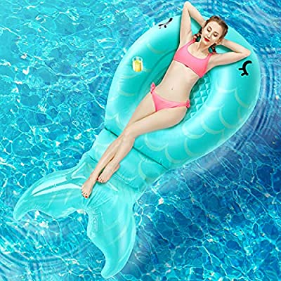 """Inflatable Mermaid Pool Float Floatie - 86.6""""×45.3""""×17.7"""" Giant Pool Raft Blow Up for Kids Adults Women, Summer Fun Water Toy for Parties in Swimming Pools & Beach"""