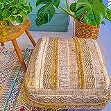 Mandala Life ART Funda otomana vintage marroquí – mezcla de lana pura y algodón – relleno no incluido – 61 x 20 cm – Cojín cuadrado artesano bordado a mano – Funda de lujo Boho Chic