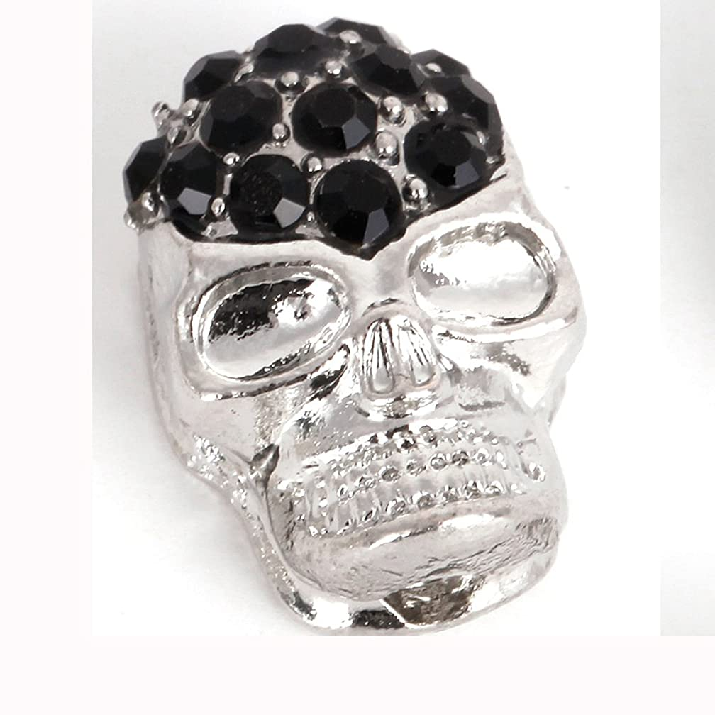 RUBYCA 10pcs Skull Beads Sideway Connector Shamballa Bracelet Silver Color JB Jet Black Crystal