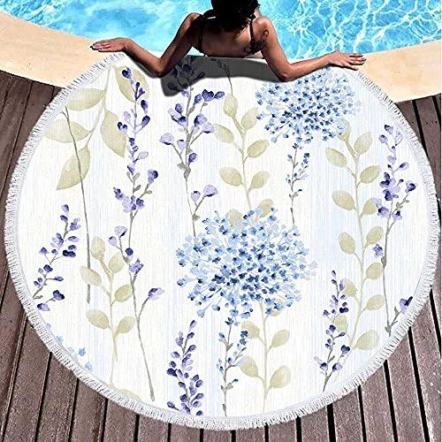 Toalla de playa redonda toalla de playa para mujer, toalla de playa de bebé, flores de primavera frescas, patrón de fondo fácil de usar relleno de cualquier contorno