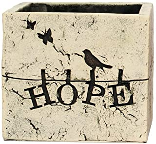 """Hosley's 5.5"""" Square Hope Ceramic Flower Pot/Planter for Dried Floral Arrangements and Greenery. Ideal Gift for Weddings, ..."""
