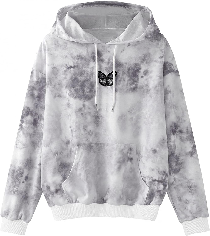 Hoodies for Women,Women's Fashion Hoodies & Sweatshirts Lightweight Butterfly Graphic Teens Girls Drawstring Pullover