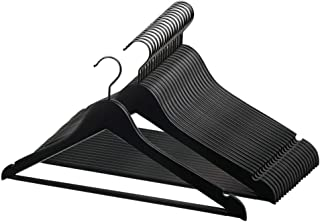Perfecasa Grade A Solid Wood Hangers 20 Pack, Suit Hangers, Coat Hangers, Non Slip Coated Bar, Premium Quality Wooden Hangers (True Black)