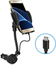Te-Rich Auto Cell Phone Car Holder Cigarette Lighter Mount Charger [Dual USB Port, 3.1A] w/Built-in Micro USB Charging Cable for Android Smart Phones
