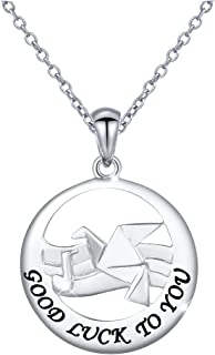 JZMSJF Circle Necklace S925 Sterling Silver Animal Pendant Necklace with Engraved Good Luck to You Round Disc Initial Necklace Bird Necklace,18''