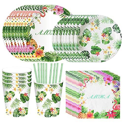 Amycute Juego de 69 piezas de vajillas de Hawaiano para fiestas tropicales, suministros para fiestas hawaianas, incluye platos, vasos, servilletas y pajitas, para 8 invitados.