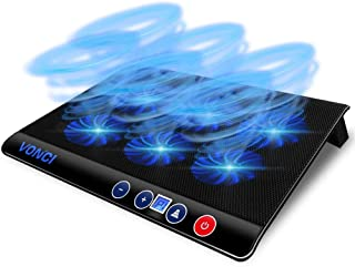 DEVOMONYノートパソコン 冷却パッド 冷却台 usbポート2口 風量6つファン調節 収納簡単 持ち運びに便利 多機種対応 超静音 液晶ディスプレイ