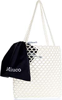 Miuco Women Pearl Tote Bag Beaded Weave Handmade Handbag with inner pouch