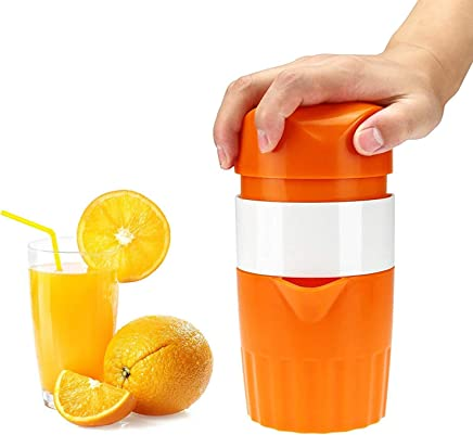 Aseun Squeezer, Manual Hand Juicer with Strainer and Container, for Lemon, Lime,Citrus(Orange Color)
