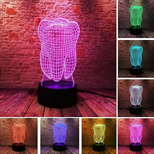 Fantastic illusie tooth 3D LED Night Light Kleurrijke Kids Baby Bedroom Atmosphere Touch Table lamp als geschenk voor tandpasta