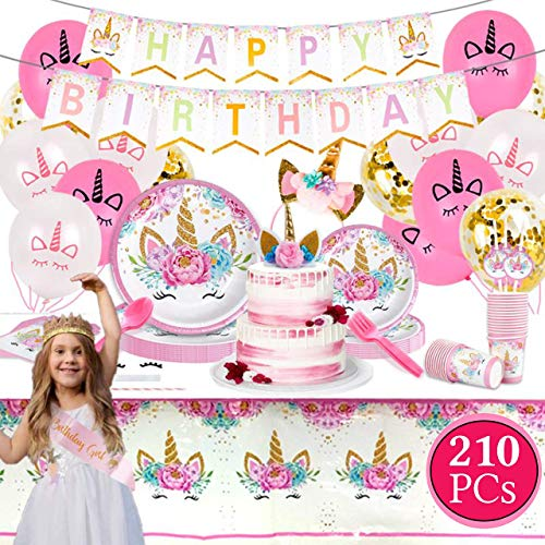 Value Smash Unicorn Party Supplies 24 guests for girls with Birthday Banner, Unicorn Cake Topper, Headband & Sash, Dinning & Dessert plates, Tablecloth, Cups, Forks & Spoons Set, 15 balloons