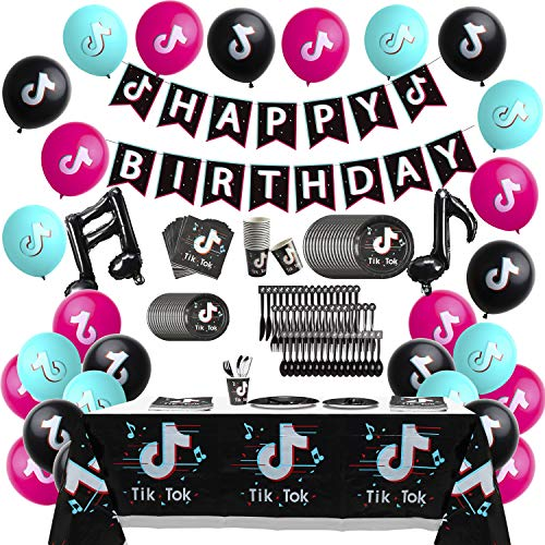 146 Pcs TIK TOK Party Supplies, TIKTOK Happy Birthday Party Favors Include Printing Banner Balloons Plastic Table Cloth Plates Cups Forks Spoons Knives Napkins Short Video Party Decoration for Fans