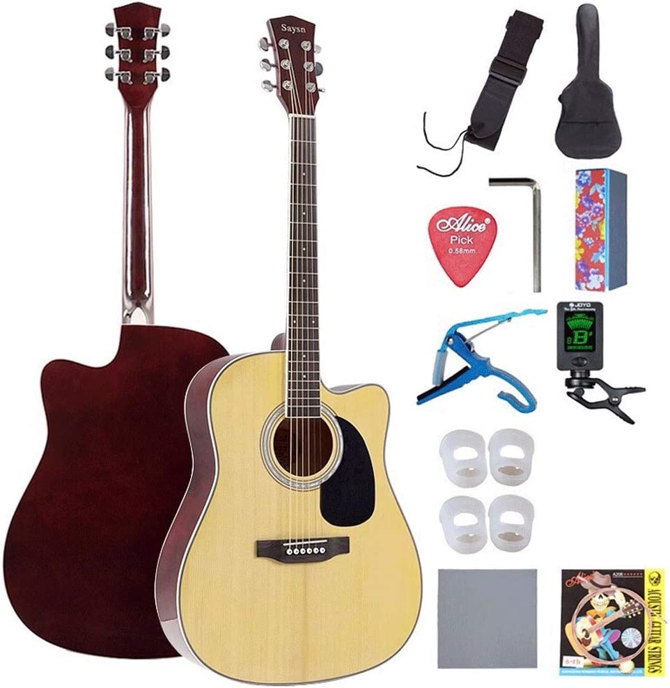 Boll-ATur 41in Principiante guitarra acústica de madera de abeto de la guitarra acústica Starter Kit W/Case, correa, digital S-Tuner, Pick, Pitch Pipe, cuerdas - Azul