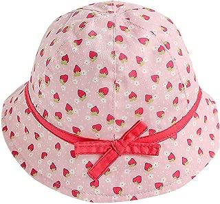 ❤️ Mealeaf ❤️ Kids Baby Girl Fruit Print Bowknot Beach Cap Princess Sun Protection Hats(Pink,44)