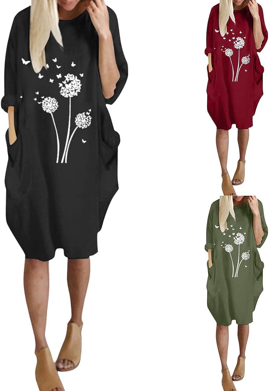 JUNLIN Mid Length Dresses for Curvy Women Tshirt Sweatshirts Hide Tummy Pocket Long Sleeve Loose Casual