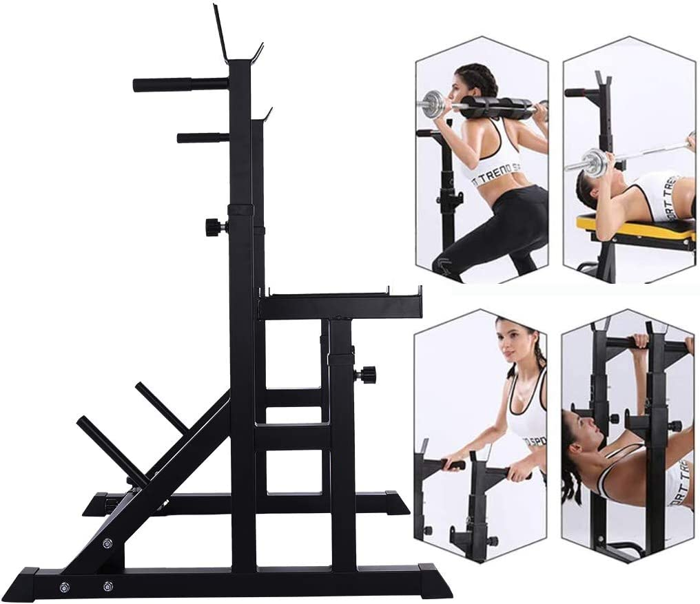 Durable Standing Great for Pressing and Squat Height Adjustable Barbell Rack Adjustable Squat Rack Stands Multifunction Barbell Bench Press Dipping Station Lifting Fitness