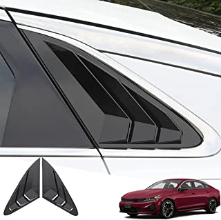 Great-luck ABS Material Racing Style Rear Side Window Louvers Air Vent Scoop Shades Cover Blinds Trim Exterior Accessories(Mirror Black) 2Pcs/Set for Kia New K5 2021 2022
