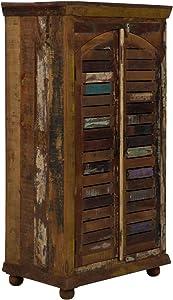 Massivum Avadi Kleiderschrank mit Lamellen, teak, bunt, BxHxT: 80x147x40 cm