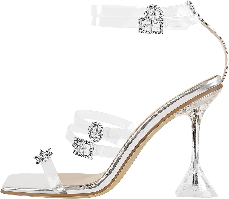 Yolkomo Women's Square Toe Clear Mid Heel Open Toe Mules Slides Sandals