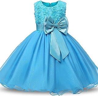 Vestido de Princesa Niña Vestido de niña Fiesta de cumpleaños para niños Vestidos de novia Sin mangas Bowknot Flor 3D Eleg...