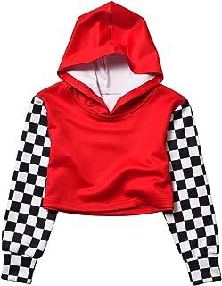 Kids Girls Leather Plaid Long Sleeve Crop Top Hoddie Cropped Sweatershirts