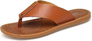G&F Mens flip flops strand clip teen sandalen slippers outdoor vakantie rubber zachte zool zomer (kleur: bruin, maat: 43)