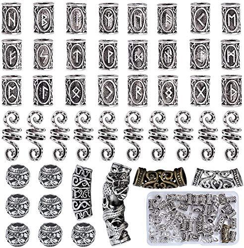 Queta 45 piezas de Cuentas de barba vikinga Cuentas de rastas Cuentas de tubo de pelo nórdicas decorativas Accesorios trenzados para cabello Collares Pulseras DIY