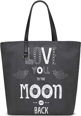 NaiiaN para mujeres Niñas Damas Bolso de estudiante Bolso de compras Correa de peso ligero Te amo hasta la luna y la espalda