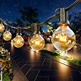 Outdoor String Lights 60ft,G40 64 Edison Bulbs(4 Spare) Globe Patio Lights UL Listed Waterproof Hanging String Lights for Porch Backyard Bistro Garden Indoor Decor,Commercial Grade,E12 Socket