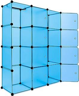 Deuba Armoire penderie Cubes Etagere Rangement Plastique modulables Cadre en métal 150x115x37cm Bleu