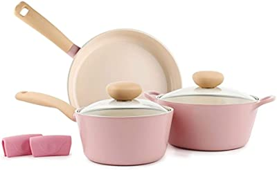Neoflam Retro 5pc Ceramic Nonstick Cookware Set, PFOA Free Pots and Pans with Integrated Steam Vent Lid knob Prevents Boil Over for Safer Cooking Pink, 5-Piece